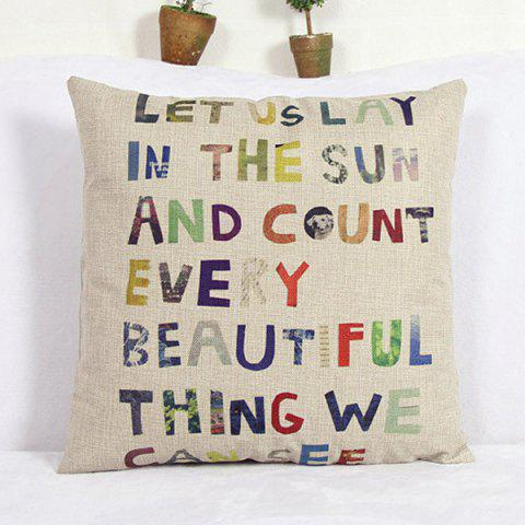 Best Modern Letter Pattern Square Linen Decorative Pillowcase (Without Pillow Inner)