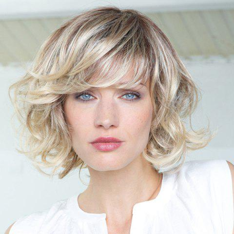 Best Stunning Fluffy Curly Side Bang Short Vogue Brown Gradient Light Blonde Synthetic Wig For Women