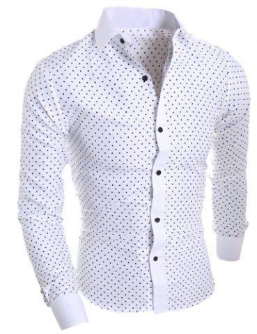 Affordable Classical Turn-Down Collar Long Sleeve Slimming Stars Print Men's Shirt WHITE M