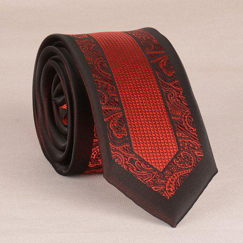 Store Stylish Red Retro and Latticed Jacquard 6CM Width Tie For Men - RED WITH BLACK  Mobile