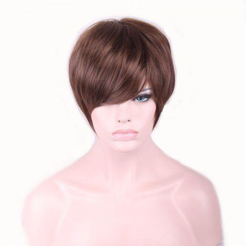 Trendy Spiffy Short Straight Capless Brown Fashion Heat Resistant Fiber Inclined Bang Wig For Women