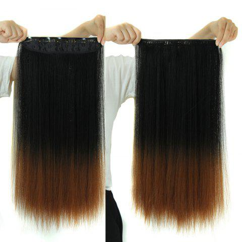 Cheap Fashion Long Silky Straight Black Ombre Brown Synthetic Clip-In Hair Extension For Women - OMBRE 1211#  Mobile