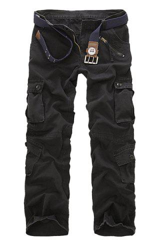 Chic Multi Pockets Straight Leg Military Cargo Pants - 34 BLACK Mobile