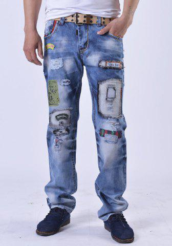 Distressed Patch Design Straight Denim Pants - Blue - 30
