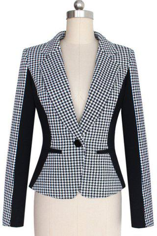 Online OL Style Lapel Long Sleeve Houndstooth Spliced Slimming Blazer For Women
