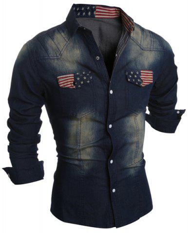 Discount Turn-Down Collar Bleach Wash Flag Print Long Sleeve Pocket Men's Denim Shirt DEEP BLUE M