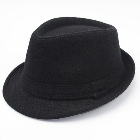 Stylish Simple Solid Color Felt Fedora For Men - Black