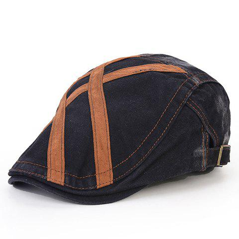 Stylish Strappy and Adjustable Buckle Embellished Jeans Flat Cap For Men - Black