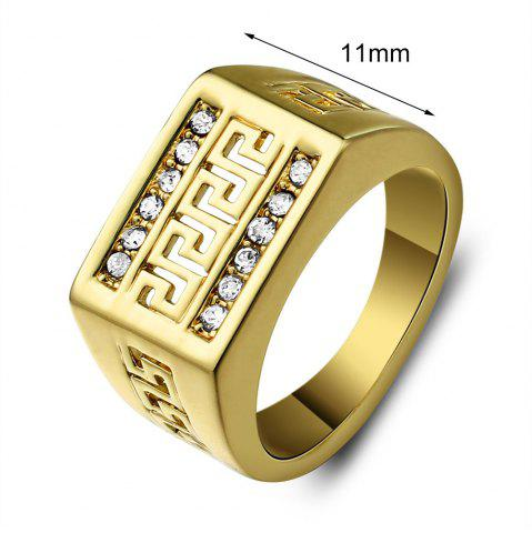 Trendy Vintage Rhinestone Hollow Out Ring - ONE-SIZE GOLDEN Mobile