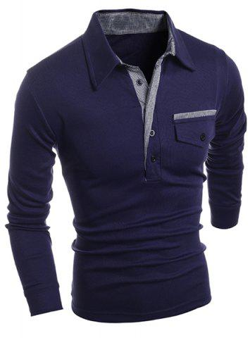 Turn-Down Collar Button Embellished Pocket Long Sleeve Men's Polo T-Shirt - Deep Blue - M