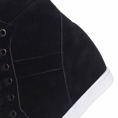 Outfit Simple Suede and Pure Color Design Women's Athletic Shoes - 35 BLACK Mobile