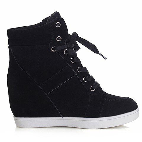 New Simple Suede and Pure Color Design Women's Athletic Shoes - 35 BLACK Mobile