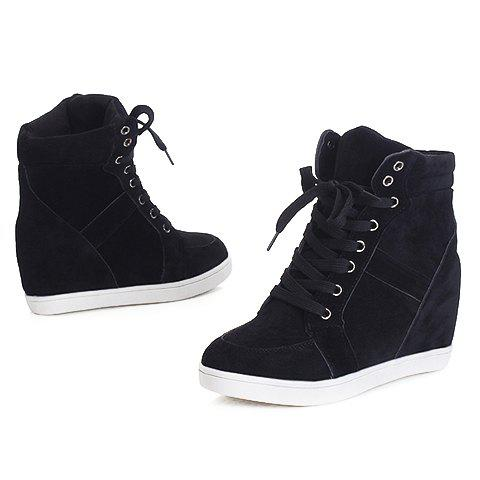 Online Simple Suede and Pure Color Design Women's Athletic Shoes - 35 BLACK Mobile