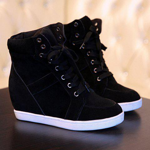 Buy Simple Suede and Pure Color Design Women's Athletic Shoes - 35 BLACK Mobile