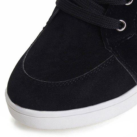 Fashion Simple Suede and Pure Color Design Women's Athletic Shoes - 35 BLACK Mobile