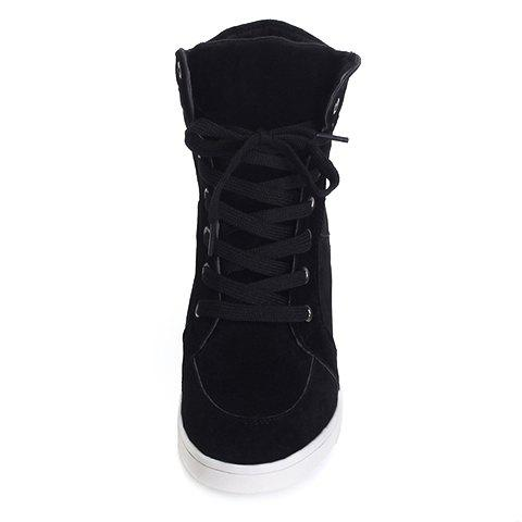 Discount Simple Suede and Pure Color Design Women's Athletic Shoes - 35 BLACK Mobile