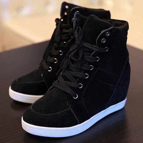 Sale Simple Suede and Pure Color Design Women's Athletic Shoes - 35 BLACK Mobile