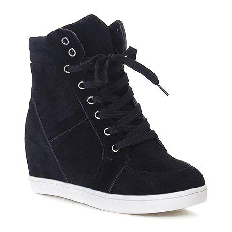 Affordable Simple Suede and Pure Color Design Women's Athletic Shoes - 35 BLACK Mobile