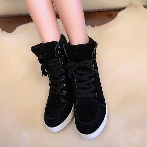 Trendy Simple Suede and Pure Color Design Women's Athletic Shoes - 35 BLACK Mobile