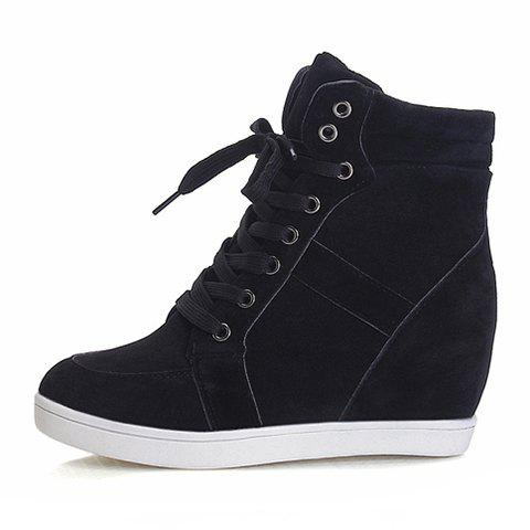 Outfits Simple Suede and Pure Color Design Women's Athletic Shoes - 35 BLACK Mobile