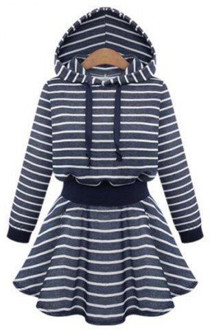 Online Active Hooded Striped Long Sleeve Flounce Hoodie Dress For Women