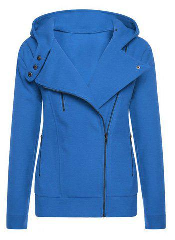 Trendy Hooded Long Sleeve Pure Color Women's Zip Up Hoodie - Sapphire Blue - L