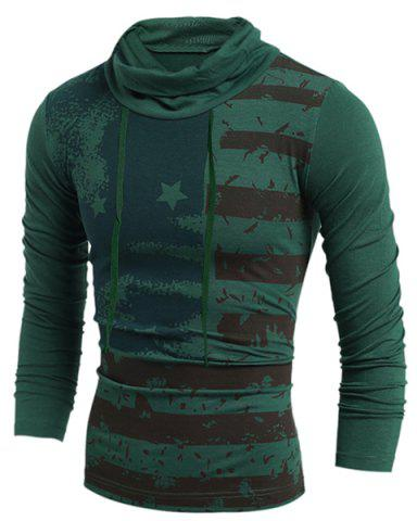 Hot Western Style Drawstring Heaps Collar American Flag Print Hit Color Long Sleeves Men's Slim Fit T-Shirt