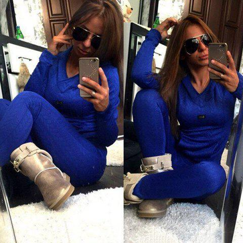 Latest Stylish Hooded Long Sleeve Sweatshirt + Solid Color Slimming Pants Women's Twinset BLUE L