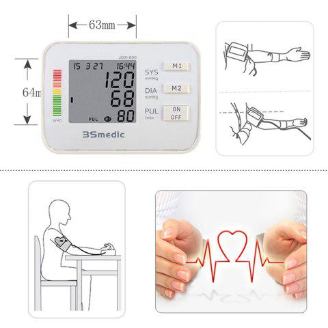 Outfits JDS-800 Digital Sphygmomanometer Arm Blood Pressure Pulse Monitor for Home Office - WHITE  Mobile