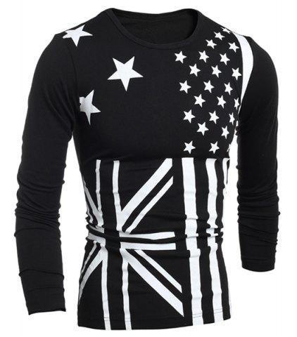 Fancy Classic Union Jack and American Flag Print Round Neck Long Sleeves Men's Slimming T-Shirt BLACK L
