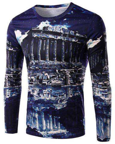 Unique Round Neck 3D Ruins Print Long Sleeve Men's T-Shirt