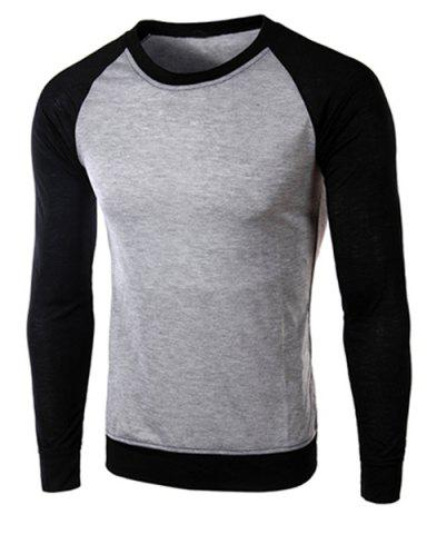 Online Classic Color Block Splicing Round Neck Long Sleeves Men's Slimming T-Shirt - XL BLACK AND GREY Mobile