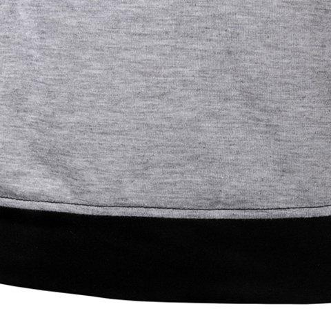 Unique Classic Color Block Splicing Round Neck Long Sleeves Men's Slimming T-Shirt - XL BLACK AND GREY Mobile