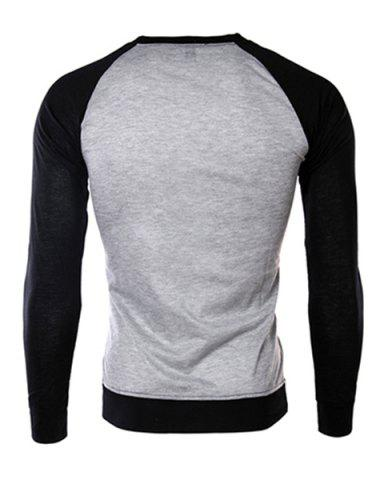 Discount Classic Color Block Splicing Round Neck Long Sleeves Men's Slimming T-Shirt - XL BLACK AND GREY Mobile