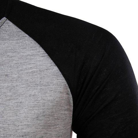 Shop Classic Color Block Splicing Round Neck Long Sleeves Men's Slimming T-Shirt - XL BLACK AND GREY Mobile