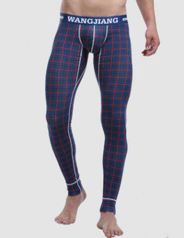 Affordable Letters Printed Elastic Waist Suture Stripes U Convex Pouch Men's Plaid Long Johns Pants