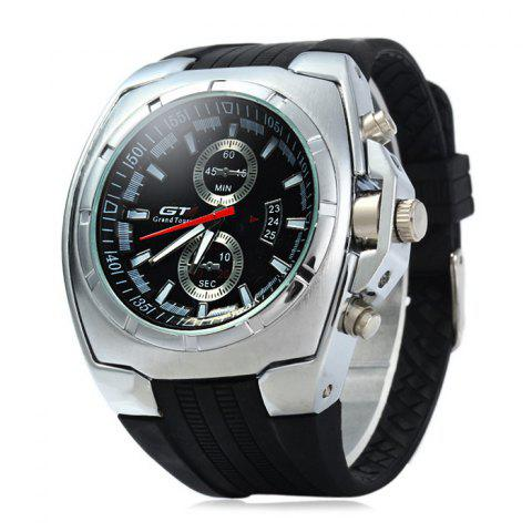 Sale GT Male Decorative Sub-dials Quartz Watch with Double Scales BLACK