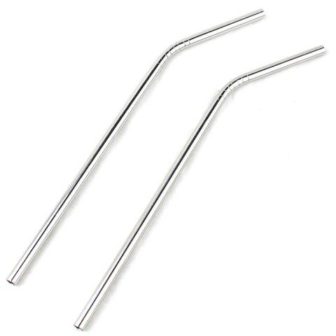 Discount 2Pcs Stainless Steel Bending Straw Practical Stirring Rod Household Supplies - SILVER  Mobile