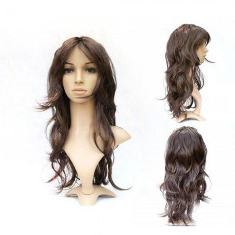 Discount 55cm Lady Full Long Curly Wavy Coffee Wig with Fringe for Party Cosplay