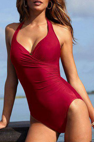 Cheap Halter Neck Backless Solid Color One-Piece Swimsuit RED M