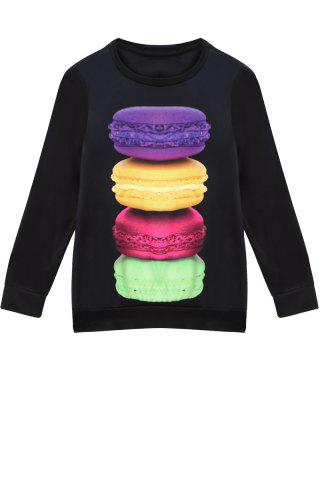 Chic Stylish Jewel Neck Long Sleeve Macaron Print Women's Sweatshirt