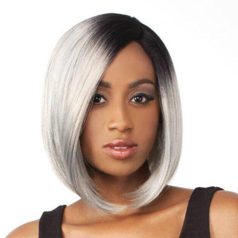 Online Bob Style Grey Ombre White Fashion Medium Synthetic Straight Side Bang Capless Wig For Women