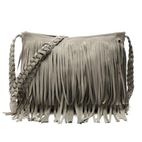 Affordable Stylish Fringe and Weaving Design Women's Crossbody Bag - GRAY  Mobile