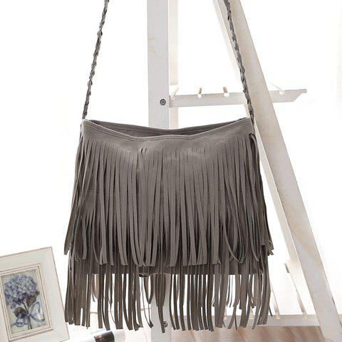 New Stylish Fringe and Weaving Design Women's Crossbody Bag - GRAY  Mobile
