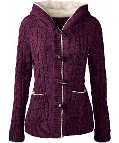 New Chic Long Sleeve Solid Color Hooded Cardigan For Women PURPLE S