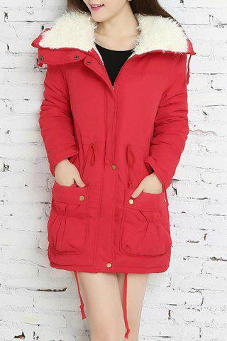 Trendy Fresh Style Drawstring Thick Fleece Coat For Women
