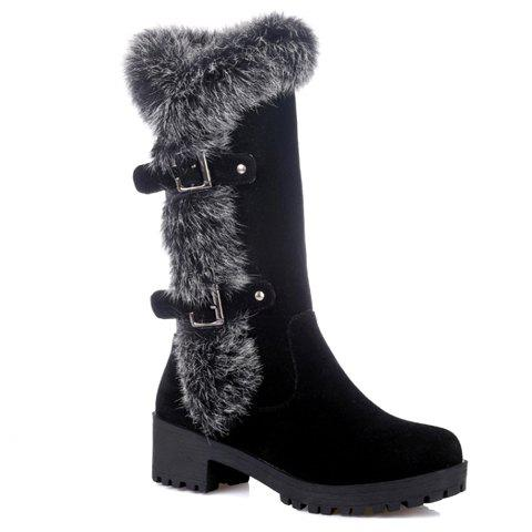 Chic Fashionable Faux Fur and Flock Design Women's Mid-Calf Boots