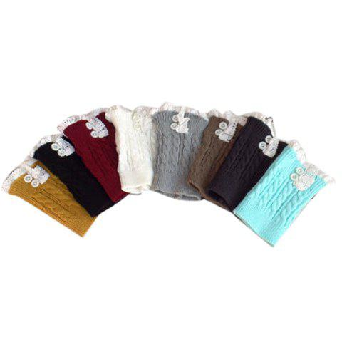 Hot Pair of Chic Button and Lace Embellished Hemp Flowers Knitted Boot Cuffs For Women