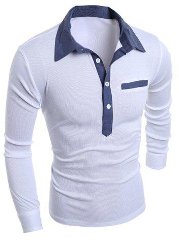 Trendy Turn-Down Collar Chambray Splicing Long Sleeve Buttons Men's Polo T-Shirt WHITE M