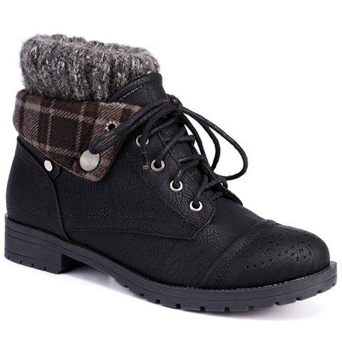 Retro Engraving and Lace-Up Design Women's Sweater Boots - Black - 38